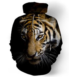 Europe and the United States hot 3D digital printing plus velvet hooded sweater men and women couple tiger lion head size code free postage on Sale