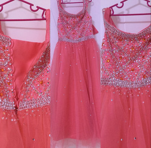 Wholesale 2020 Cute Coral Cheap Flower Girls Dresses Bateau Neck Cap Sleeves Crystal Beaded Long Birthday Communion Children Girl Pageant Gowns