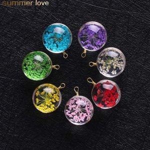 Wholesale Creative Dried Flower Pendant For Earring Necklace Woman Fashion Glass Ball Pressed Flower For DIY Jewelry Accessories