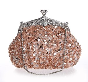 Wholesale Hot Sale Exquisite Beads Sequins Cosmetic Bags Socialite Birthday Gif Elegant Women Bridal Wedding Party Bags Upscale Makeup Bag