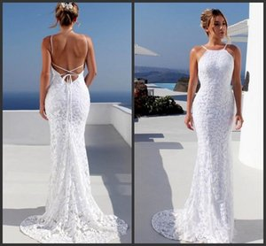 Wholesale 2019 New Bohemian Beach Wedding Dresses Spaghetti Backless Mermaid Bridal Gowns Sweep Train Lace Country Princess Dress For Brides