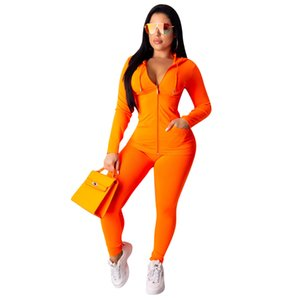 Wholesale 2019 New Two Piece Set Tracksuit Women Festival Clothing Fall Winter Top Pant Sweat Suits Neon Piece Outfits Matching Sets