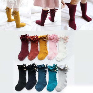 Wholesale newBaby Girls Knee Socks Infant Girl Lace Bows Princess Leg Warmers Socks Toddler Cotton Long Tube Cute Stocking
