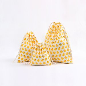 Wholesale Yellow duck pattern cotton linen Drawstring Bag Clothes travel Store organizer dust cloth bag home Sundry kids toy storage bags