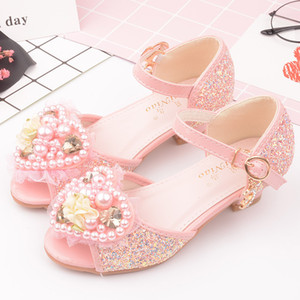 Wholesale 2019 New Kids Designer Sandals Kids Girls Wedding Shoes Pearl heart shaped princess High Heels Dress Shoes Party Shoes For Girls Pink Blue