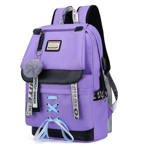 Wholesale Large Green Backpacks School Backpack For Teenage Girls USB School Bags Canvas Middle Junior High College Student Schoolbag