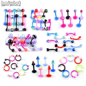Wholesale Imixlot UV Flexible Eyebrow Navel Belly Lip Tongue Nose Piercing Bar Ring Labret Barbell Tunnel Body Jewelry