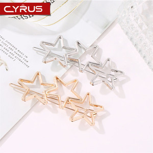 Wholesale Classic Simple Hollow Chain Love Heart Pentagram Hair Clip for Women Girls Gold Silver Metal Princess Refined Headwear