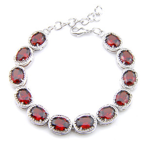Wholesale Luckyshin 6Pcs lot Shiny Oval Red Garnet Gems 925 Sterling Silver Plated Chain Bracelets Russia Australia USA Bracelets Bride Jewelry 8'