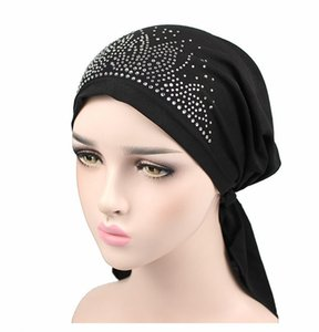 Hot Women Floral Print Chemo Cancer Hat Muslim Turban Head Butterfly with Diamond Skullies Cap Ladies Wrapped head Caps A