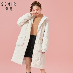 Wholesale SEMIR Women Fleece Lined Quilted Padded Coat with Drawstring Hood Hooded Coat with Open Pocket Zip Snap Closure Ribbed Cuffs