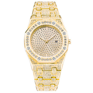 Wholesale Bling Diamond Watch For Men Iced Out Yellow Gold Tone Stainless Steel Quartz Mens Wrist Watches Luxury Relogio Masculino XFCS NEW