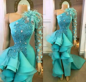 2020 Sky Blue Evening Dresses With Tiered Ruffles One Shoulder Mermaid Prom Dress Custom Made Split Red Carpet Gowns Formal Party Wear on Sale