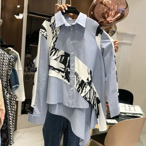 Wholesale EWQ new fashion clothing full sleeves inks printed single breasted full sleeves asymmetrical shirt female blouse WG72605