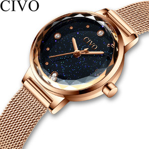 Civo Fashion Luxury Watches Women Blue Face Quartz Watch Lady Mesh Watchband Casual Waterproof Wristwatches Gift For Wife 2019 J190628