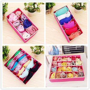 Wholesale Home Non woven Foldable Storage Box Bra Underwear Sock Closet Organizer Cube Basket Bins Containers Home Tidy Drawer Dividers B4252