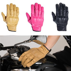 Touch screen leather motorcycle anti-skid shatter-resistant breathable four seasons full finger gloves protection device