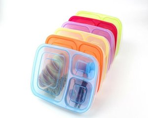 Wholesale Lunch Boxs Leak Proof Grid With Lid Camping Picnic Portable Plastic Food Fruit Storage Container Bento Box Colors