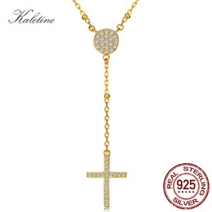 Wholesale Kaletine Sterling Silver Rosary Necklaces Trendy Gold Jewelry Cross Charms Turkey Evil Eye Necklace Women Accessories Men J190625