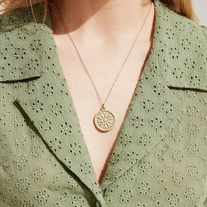 Wholesale zinc alloy sun pendants resale online - Geometric Necklace Round Necklaces Women Chain Ladies Sun Pendant Girls Jewelry Silver Color Trendy Korean Zinc Alloy Halskette