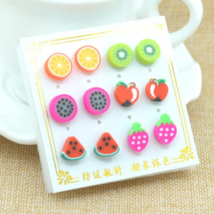 Wholesale Earrings For Women pair pack New Summer Style Fashion cute Handmade Polymer fruit Hypoallergenic Stud Earrings