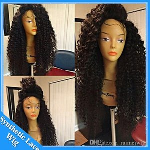Wholesale Best selling inch jet black afro kinky curly synthetic lace front wig heat resistant factory price synthetic long wig for black women