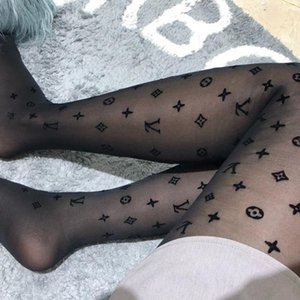Wholesale Spring Summer Translucence Pantyhose New Women Letter Design Flocking Jacquard Hosiery Sexy Girl Tights With Box