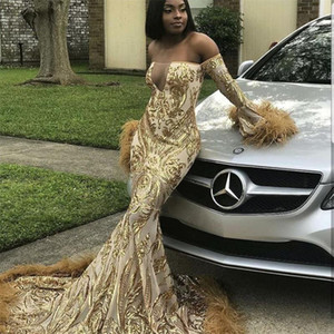 Wholesale Off The Shoulder Mermaid Prom Dresses 2019 New Sequined Feather Sweep Strain Long Sleeve Formal Evening Dress Party Gowns