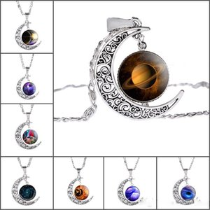 Wholesale Fashion Nebula Space Universe necklaces For Women Galaxy starry sky Half Crescent Moon Pendant Silver chains New Jewelry