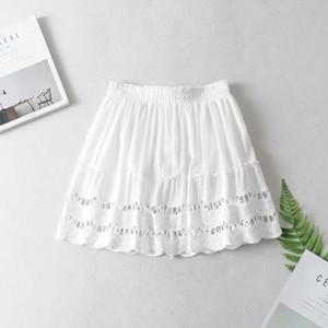 14c3de6a41e5 2019052008 A-line high waist women skirt white Embroidery cotton mini skirts  2019 Casual loose