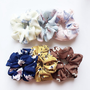Wholesale 30pcs Floral Flamingo Solid Houndstooth Design Women Hair Tie Accesorios Scrunchie Ponytail Hair Holder Rope scrunchy basic Hair band FJ3351