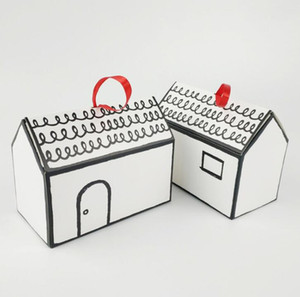 White House Shape Gift Package Cake Candy Box with Red Ribbon Wedding Favors and Gifts Box Party Supply