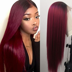 24inches Ombre Burgundy Synthetic Lace Front Wig Heat Resistant Fiber Full Hair Glueless Hand Tied Brazilian Lace Frontal Wigs