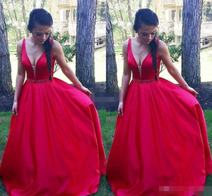 2020 Red Satin Prom Dresses Deep V Sheer Neck Beaded Crystal Straps A Line Floor Length Custom Made Evening Gown Formal Occasion Wear on Sale
