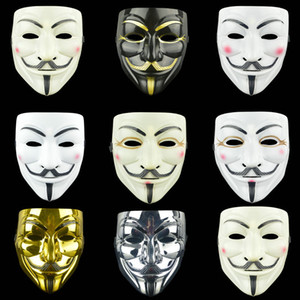Wholesale Halloween Vendetta Mask white yellow black V for Vendetta Full Face Movie Masks Masquerade Decoration Halloween Cosplay Costume Party Supply