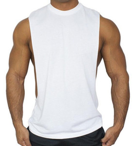 Wholesale BASICS MEN GYM Cotton Tank Top Men vest Bodybuilding and Fitness Clothing Muscle Tops Sleeveless Shirt Brand World of Tanks