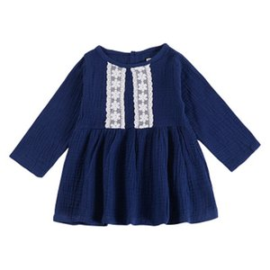 Wholesale Girls Lace Dress Summer Long Sleeve Solid Cotton Fabric Back Button Ruffle Dress Kids Designer Clothes Girls Party Peform Dress M T