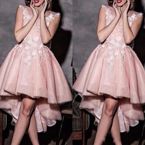 2020 New Arrival Sweety Pink Prom Dresses Sheer Neck Lace 3D Appliques Cap Sleeves High Low Length Custom Evening Gowns Cocktail Party Dress on Sale