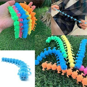 Wholesale NEW Colorful Toys Elastic TPR Unzip rope Worm Caterpillar Kids Trick Decompression Toy children prank toys