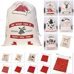 Wholesale halloween canvas bags resale online - New Canvas Drawstring Bag Christmas Bags Halloween Santa Sack Gifts Bags Santa Claus Deer Ornament Christmas Decorations Gift bags HH9