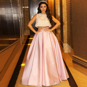 2019 New Arrival Two Pieces Lebanon Singer Celebrity Prom Dresses Lace Pink Ball Gown Gowns Vestidos De Formatural Longo Gowns Custom on Sale
