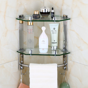 Sus304 Stainless Steel Silver Smooth Mirror Corner Rack Glass Bathroom Shelf Towel Rack Bathroom Accessories Wall Holder