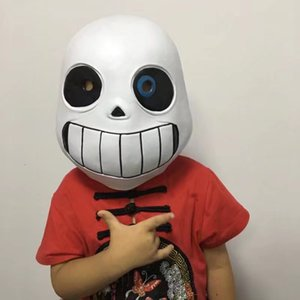 Wholesale Undertale Sans Game Mask Man Children Latex Cosplay White Full Face Facepiece Party Bardian Headgear Hot Sale zpD1