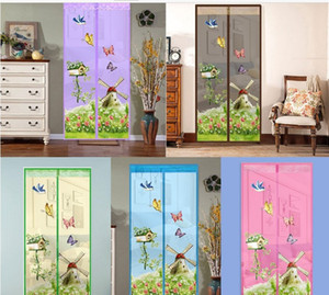 Windmill Pattern Curtain Summer Anti-mosquito Mesh Magnet Mosquito Net Curtains Soft Yarn Door Tulle Window Screen Supplies