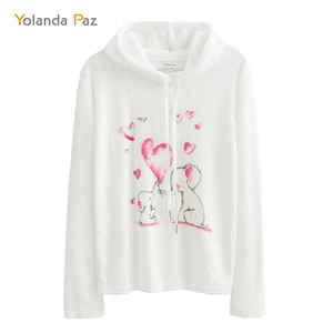 Wholesale Yolanda Paz Autumn Winter Casual Long Sleeve Women Hoody Cute elephant and elephant Printing Hoodies Sweatshirt Fashion Pullover