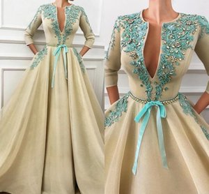 Wholesale 2019 A-line Evening Dresses Sexy V Neck Evening Formal Wear Long Sleeve Beaded Party Gowns Prom Dress Abendkleider Robe De Soiree