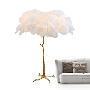 luxury Ostrich Feather Lamp Modern Copper Floor Light Living Room Hotel Floor Lamps unremovable Lamp body AC110-220V on Sale