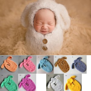 Wholesale Baby Photography Kids Costume Wrap Photo Props Newborn Accessories Prop Warm Soft With Ear One piece Sleep Bag Q190521