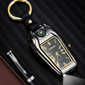 unique 4 in 1 key chain quartz watch lighter Electric cigarette lighter compass USB Rechargeable cigar Lighter Windproof led flashlight w032