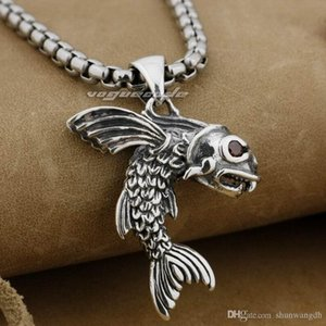 Wholesale LINSION Sterling Silver Flying Fish Red CZ Eyes Men Biker Pendant E017 Stainless Steel Necklace inches